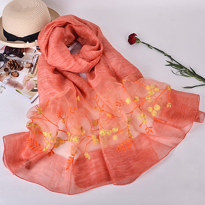 Silk scarf with embroidery - Coral