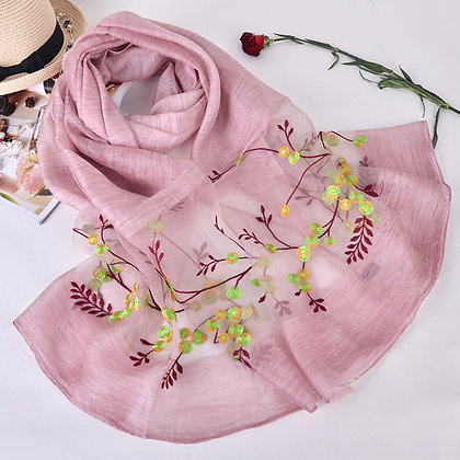 Silk scarf with embroidery - Baby Pink