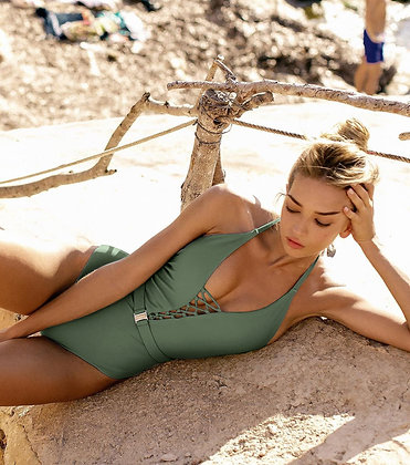 Green swimsuit with tie-belt