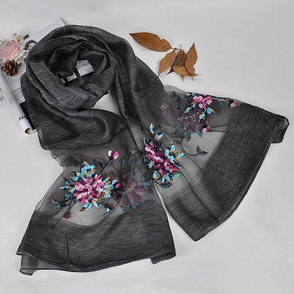 Silk scarf with floral embroidery - Black