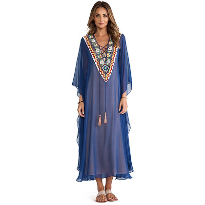 Embroidered V-neck Kaftan
