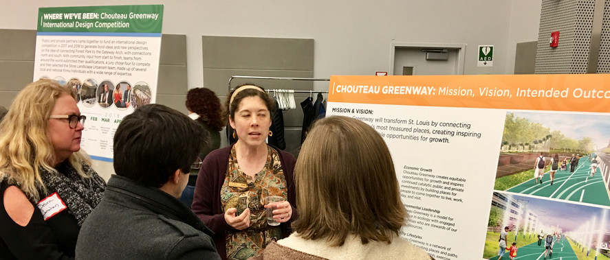 Debra attending Chouteau Greenway Community Update. A major project through the central corridor of the city and the 6th Ward.