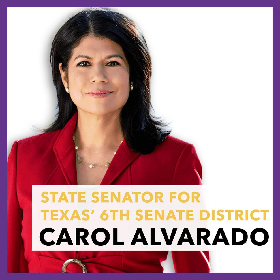 State Senator for  Texas' 6th Senate District, Carol Alvarado