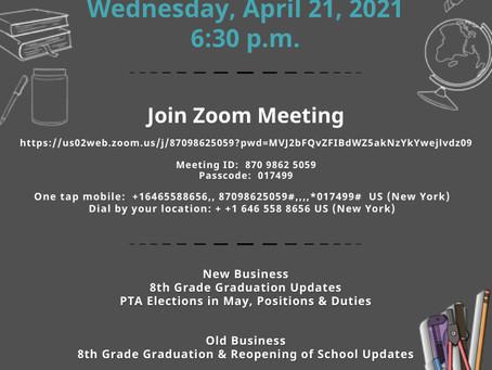 April SLT and PTA meetings
