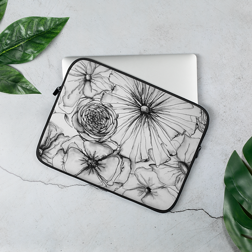 Laptop Sleeve Black and White Watercolor Floral
