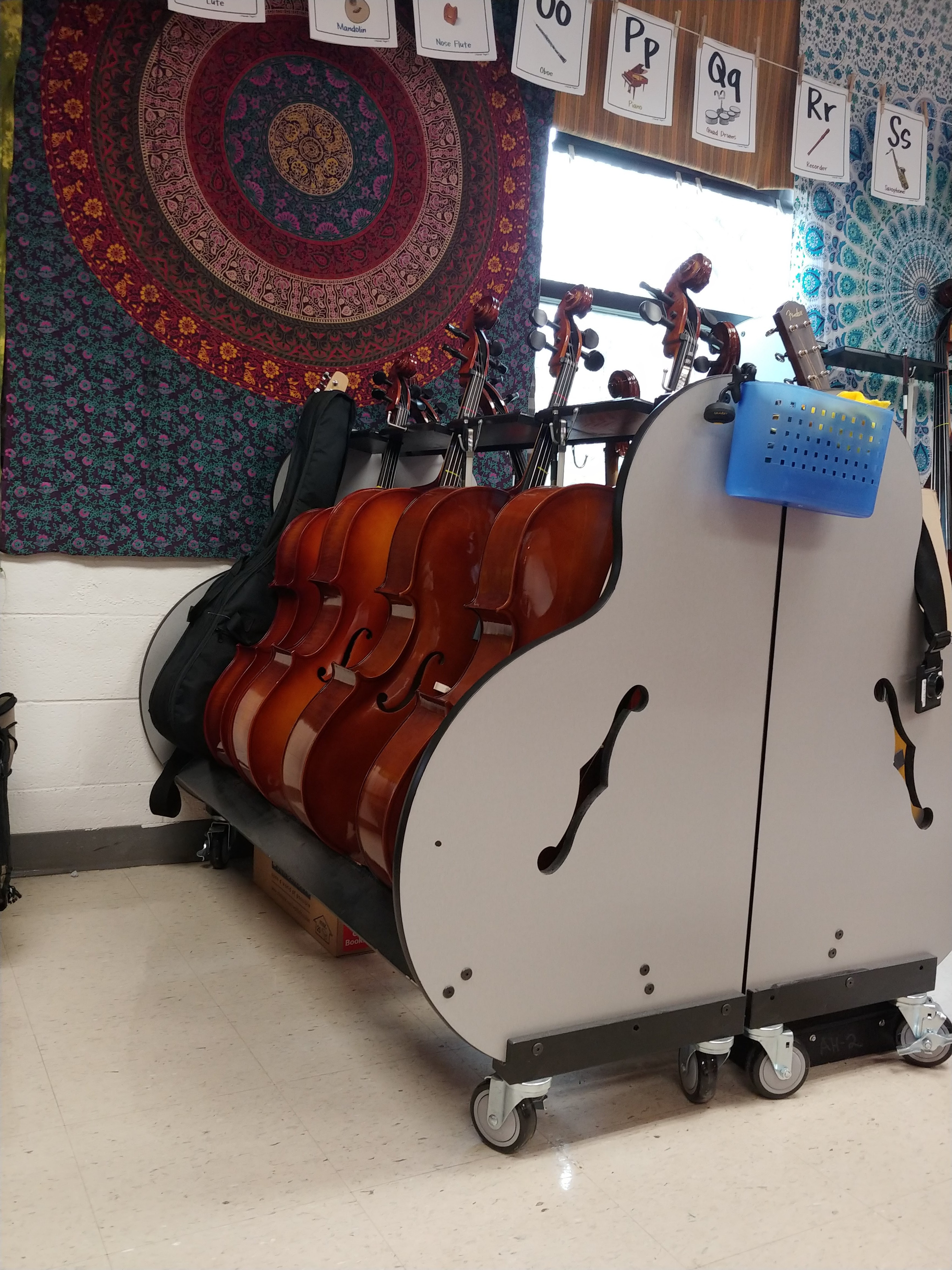 School supplied cellos for student use during the school day