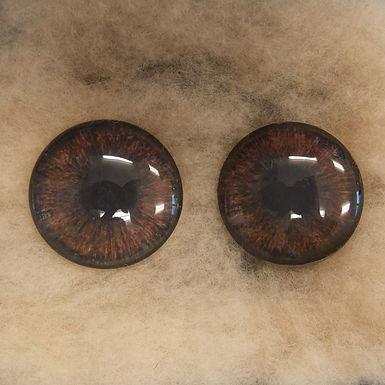 Glass Eyes, Large, Flat Back, Dark Brown, 1 pair, choose size
