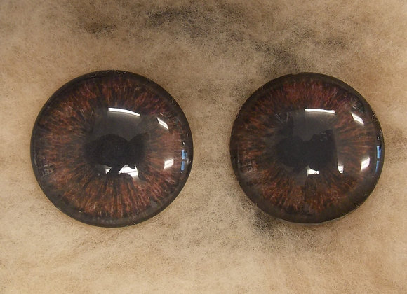 Glass Eyes, Large, Flat Back, Dark Brown, 1 pair, choose size