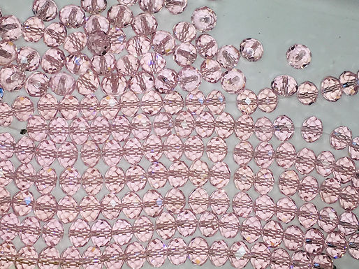 Crystal Rondelles, Pink, 4 pack