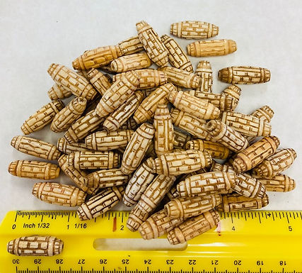 Carved Oblong Bone Beads, pack