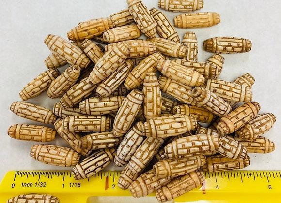 Carved Oblong Bone Beads, pack