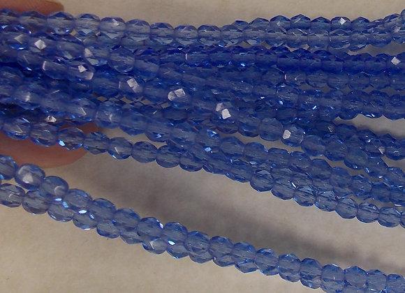 Czech Glass Beads, CZ55, Fire Polished Blue, 1 strand