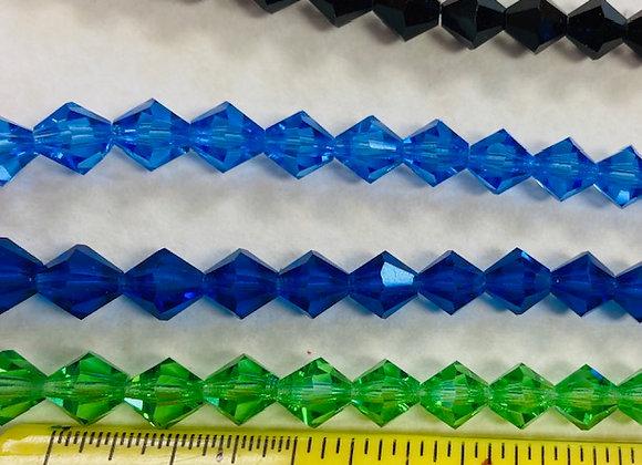Beads, Preciosa Crystal BiCone, 8mm, 7 strands