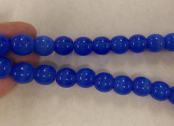 Czech Glass Beads, CZ64, Round Blue, 1 strand
