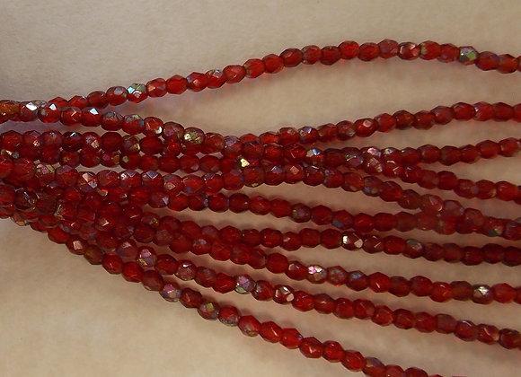 Czech Glass Beads, CZ36, Deep Red FP, AB, 1 strand