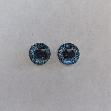 Glass Flatback Realistic Human Eyes, Blue, 1 pair