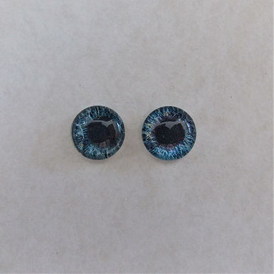Glass Flatback Realistic Human Eyes, Blue, 1 pair