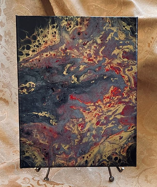 "Abstract Art Painting, ""Mystique"" black, red, gold and a wash of silver"""