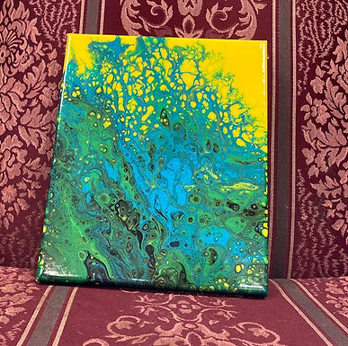 "Abstract Art Painting, ""Bright"" yellow, metallic green and blue"