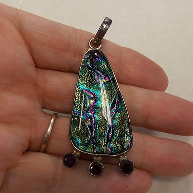 Dichroic Glass Pendant with Faceted Crystals