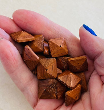 Square Wood Beads with pyramid shapes, 45+ pack