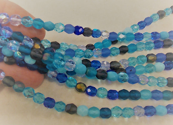 Czech Glass Beads, CZ17, Fire Polished Multi Blue, 1 strand