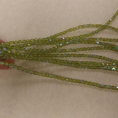 Czech Glass Beads, CZ75, FP AB Green, 1 strand