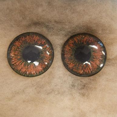 Glass Eyes, Large, Flat Back, Hazel, 1 pair, choose size