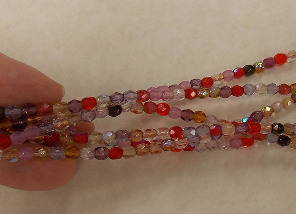 Czech Glass Beads, CZ72, Mix Red FP, 1 strand