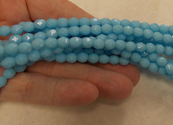 Czech Glass Beads, CZ10, Fire Polished opaque blue, one strand