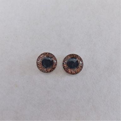 Glass Flatback Realistic Human Eyes, Light Brown, 1 pair