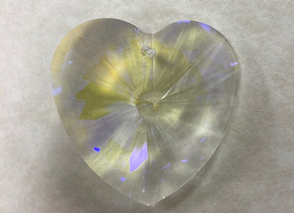 Large Crystal AB Heart, drilled