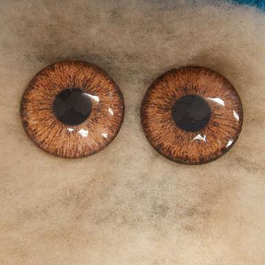 Glass Eyes, Large, Flat Back, Light Brown, 1 pair, choose size
