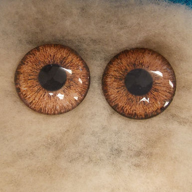 Glass Eyes, Large, Flat Back, LT Brown, 1 pair, choose size