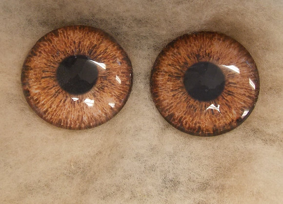 Glass Eyes, Large, Flat Back, Light Brown, 1 pair, choose size
