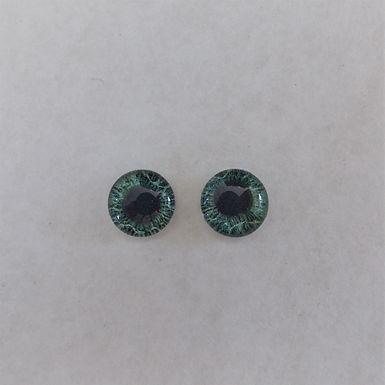 Glass Flatback Realistic Human Eyes, Green, 1 pair