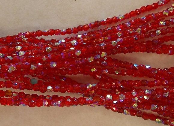 Czech Glass Beads, CZ35, Red AB, 1 strand