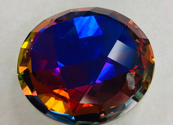 Crystal Fasceted Disc, drilled, Royal AB colors, faceted
