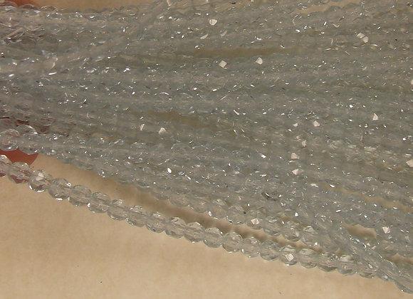 Czech Glass Beads, CZ57, Ice Blue FP, 1 strand
