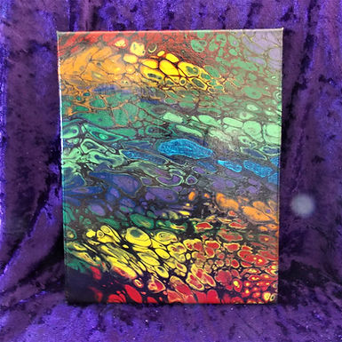"""Abstract Art Painting, #27, """"Moving"""", red, blue, green, orange, yellow, black"""
