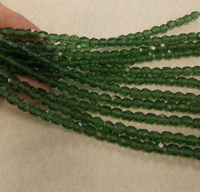 Czech Glass Beads, CZ16, Fire Polished green, 1 strand