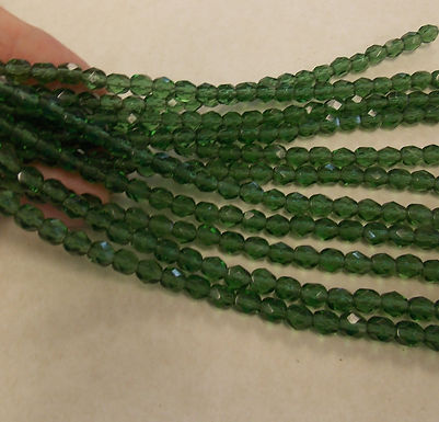 Czech Glass Beads, CZ16, Fire Polished green, 1 strand