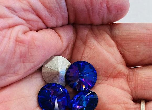 Chatons, Swarovski Crystal, deep purple/blue, collection of 4