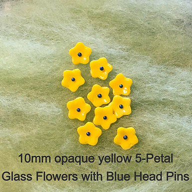 Glass Flowers with Head Pins, pack of 10