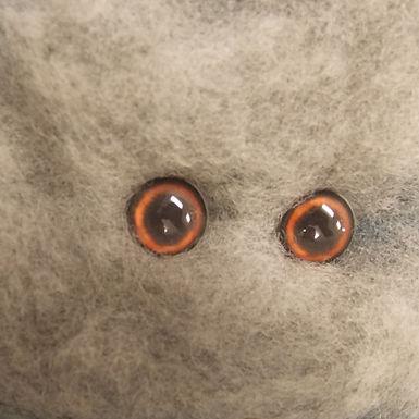 Glass Flatback Canine Eyes, CA1, brown, 1 pair