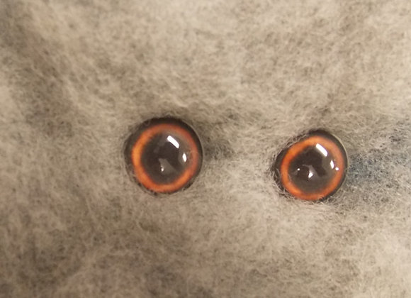 Glass Flatback Canine Eyes, CA1, brown, 1 pair