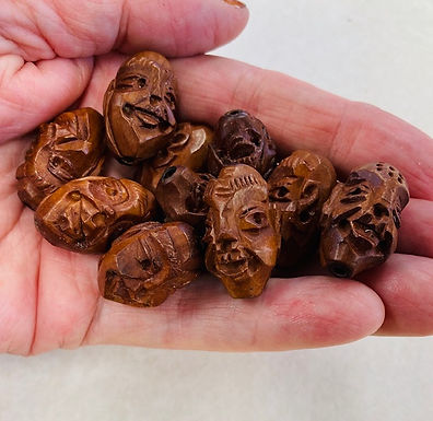 Carved Wood Head Beads, 10 pack