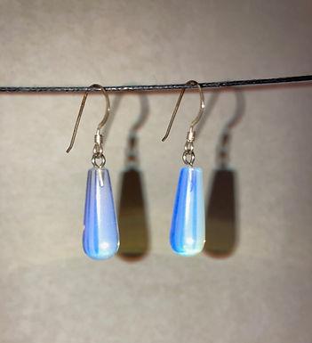 Opal Glass Teardrop Earrings