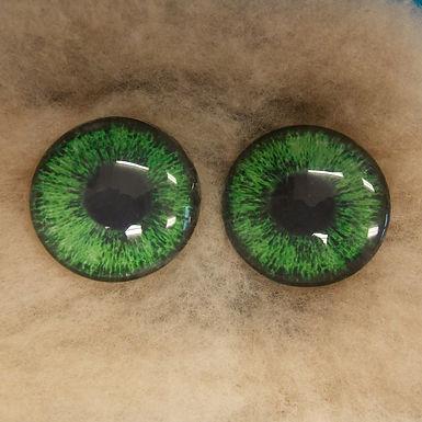 Glass Eyes, Large, Flat Back, Dark Green, 1 pair, choose size