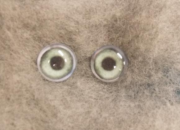 Glass Flatback Canine Eyes, CA4, green, 1 pair